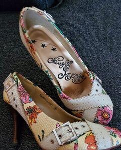 Pink and cream heels